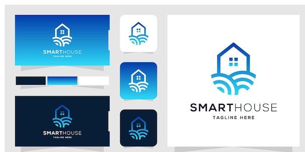 Modelo de design de logotipo de casa inteligente e cartão de visita