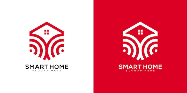 Modelo de design de logotipo de casa inteligente