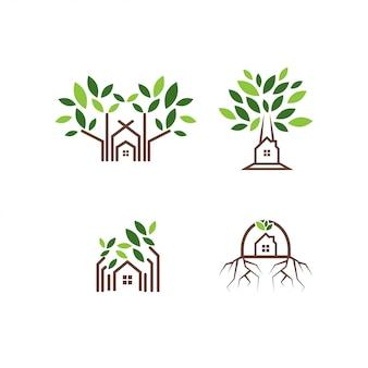Modelo de design de logotipo de casa na árvore