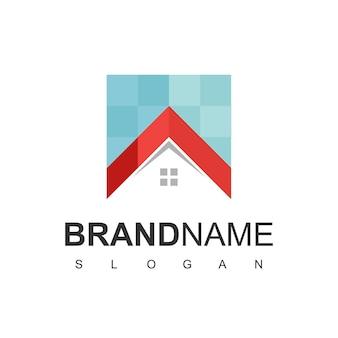 Modelo de design de logotipo de casa. sinal de cor de pixel. ícone de vetor universal