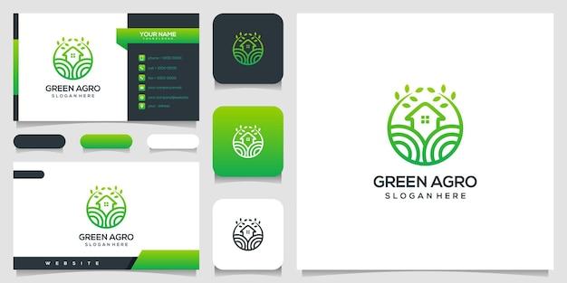 Modelo de design de logotipo de casa verde e cartão de visita.