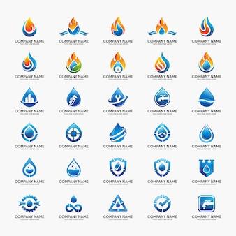 Modelo de design de logotipo de chama e água.