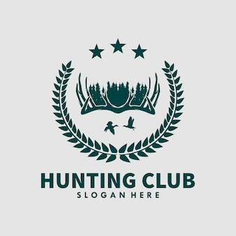 Modelo de design de logotipo de clube de caça