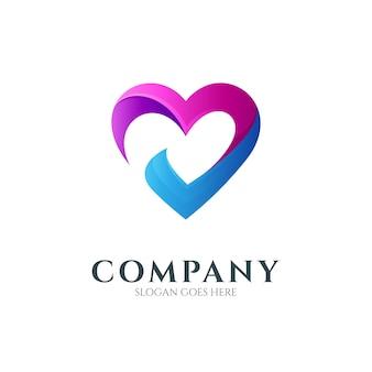 Modelo de design de logotipo de combinação de coração ou amor com marca de seleção