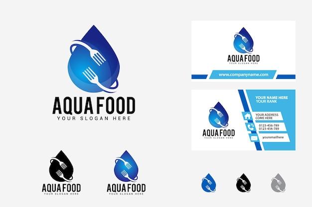 Modelo de design de logotipo de comida aqua
