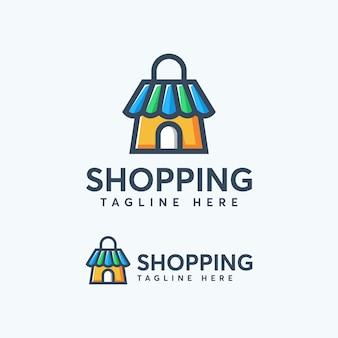 Modelo de design de logotipo de compras colorido moderno