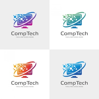 Modelo de design de logotipo de computador