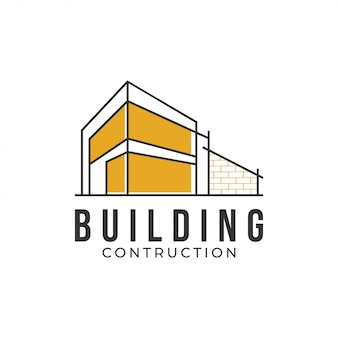 Modelo de design de logotipo de conceito de construção