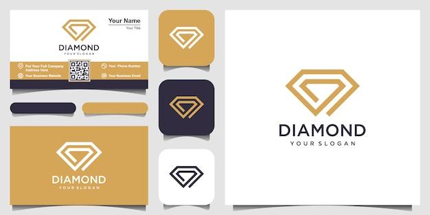 Modelo de design de logotipo de conceito de diamante criativo e design de cartão de visita