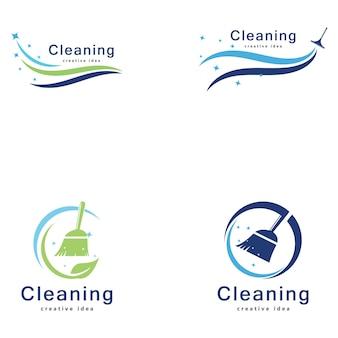 Modelo de design de logotipo de conceito de limpeza criativa
