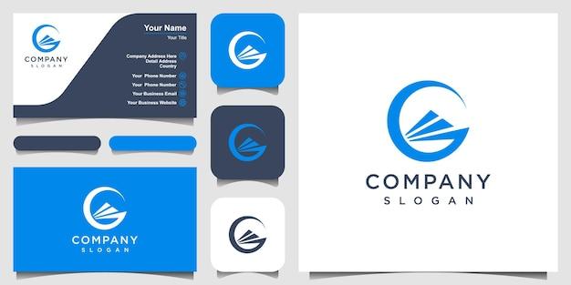 Modelo de design de logotipo de conceito de navio criativo. design de logotipo e cartão de visita