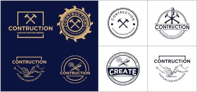 Modelo de design de logotipo de construção criativa