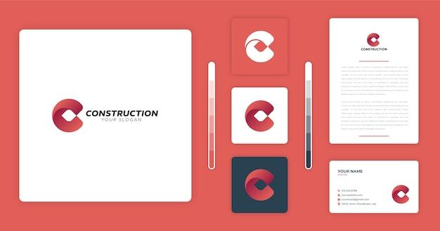 Modelo de design de logotipo de construção