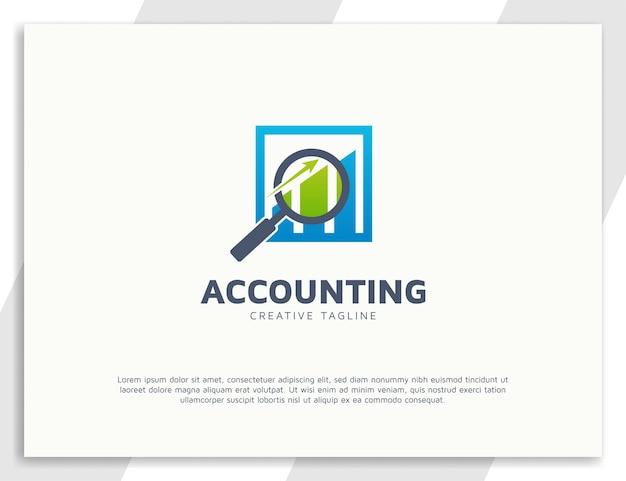 Modelo de design de logotipo de contabilidade com lupa