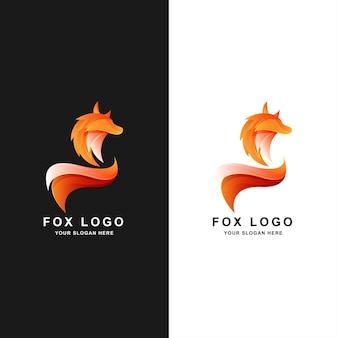 Modelo de design de logotipo de cor gradiente fox