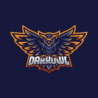 Modelo de design de logotipo de coruja escura