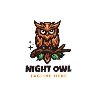 Modelo de design de logotipo de coruja noturna
