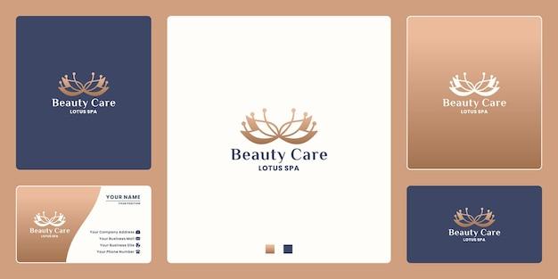 Modelo de design de logotipo de cuidados de beleza, conceito de logotipo de flor de lótus para spa, salão, ioga