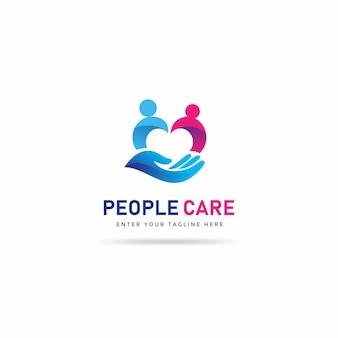 Modelo de design de logotipo de cuidados de pessoas