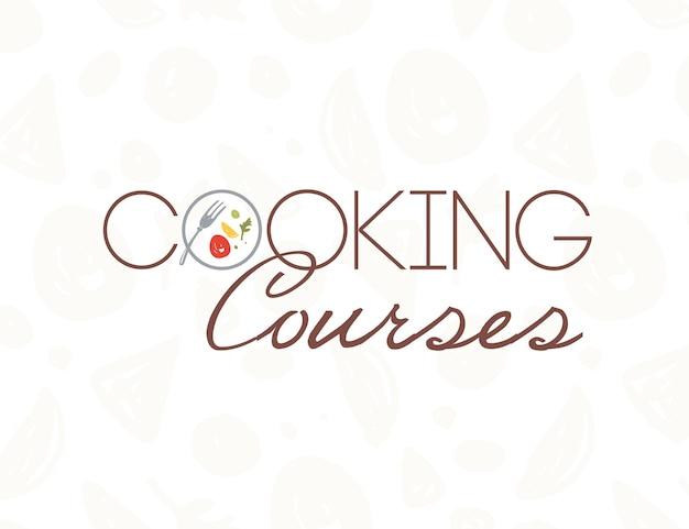 Modelo de design de logotipo de cursos de culinária de vetor com prato, garfo, comida saudável, isolada no cenário de padrão de luz. estilo simples. bom para cursos de culinária mundial, aulas principais, publicidade em restaurantes, banner