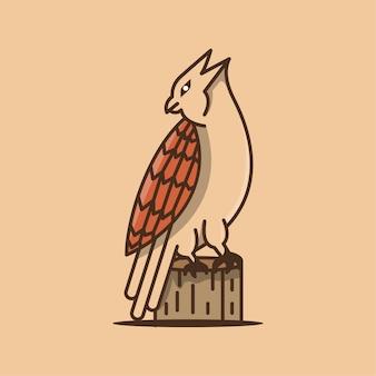 Modelo de design de logotipo de desenho animado de águia com o rosto voltado para trás e em pé na madeira.