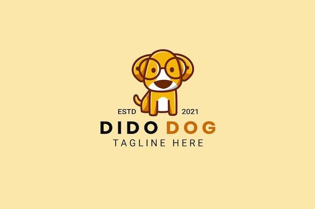 Modelo de design de logotipo de desenho animado de mascote de cachorro fofo kawaii