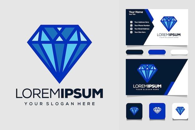 Modelo de design de logotipo de diamante azul criativo e cartão de visita
