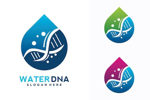 Modelo de design de logotipo de dna de água