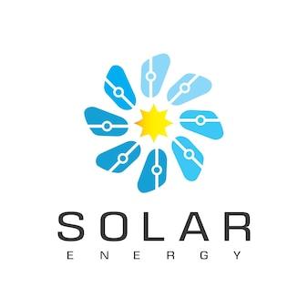 Modelo de design de logotipo de energia solar