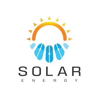 Modelo de design de logotipo de energia solar.