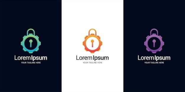 Modelo de design de logotipo de engrenagem de bloqueio