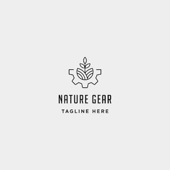 Modelo de design de logotipo de engrenagem de natureza