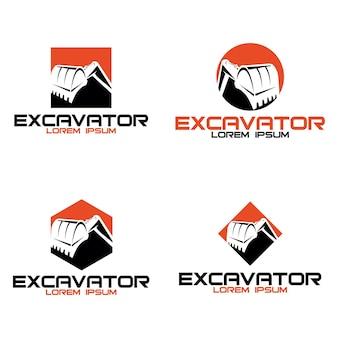 Modelo de design de logotipo de escavadeira