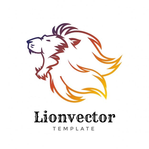 Modelo de design de logotipo de escudo de leão. logotipo da cabeça de leão.