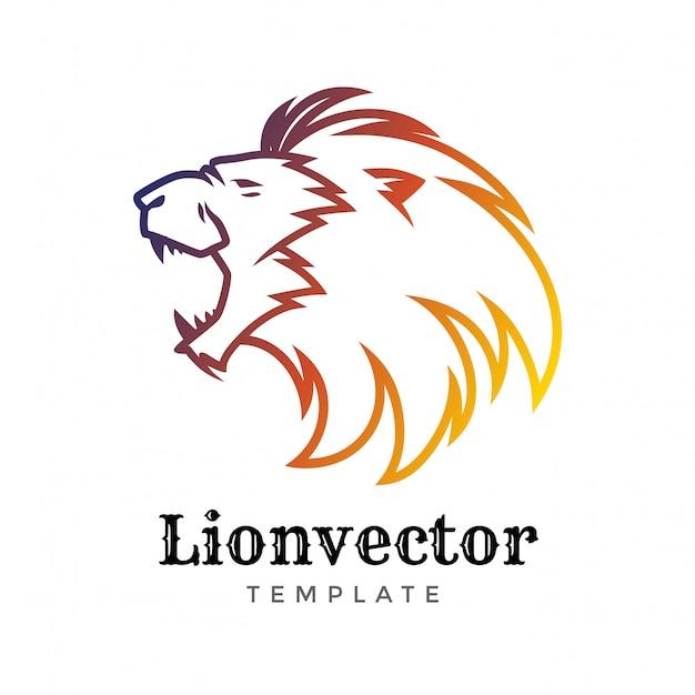 Modelo de design de logotipo de escudo de leão. logotipo da cabeça do leão