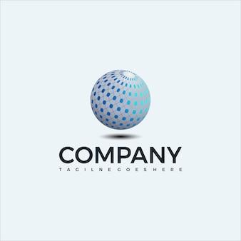 Modelo de design de logotipo de esfera abstrata. icone global. para negócios, consultoria, tecnologia, ciência, etc