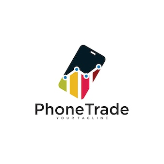 Modelo de design de logotipo de estatísticas de telefone comercial isolado