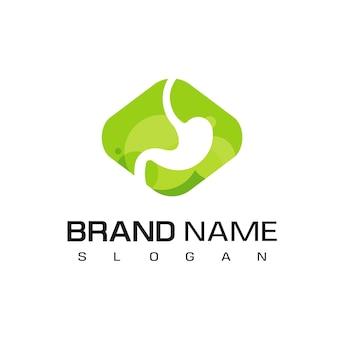 Modelo de design de logotipo de estômago em fundo verde