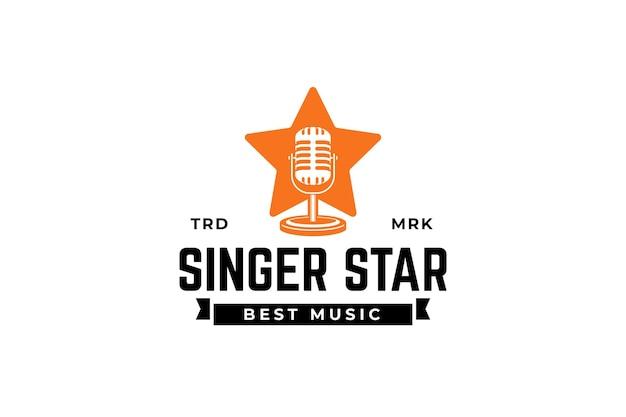 Modelo de design de logotipo de estrela cantora silhueta de microfone dentro da estrela