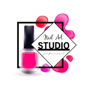 Modelo de design de logotipo de estúdio de arte de unha.