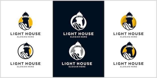 Modelo de design de logotipo de farol com elementos de água do mar logotipo monoline contorno de farol
