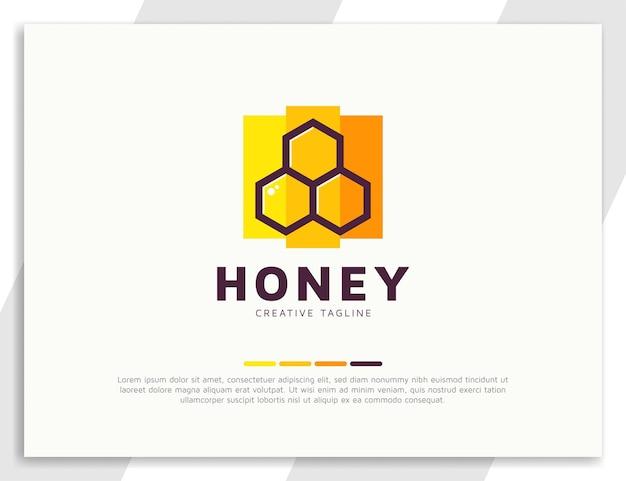 Modelo de design de logotipo de favo de mel fresco