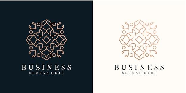 Modelo de design de logotipo de flor abstrata com estilo de linha