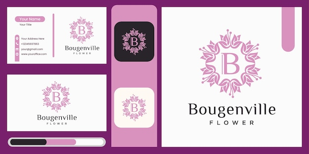 Modelo de design de logotipo de flor buganvília ícone de flor bonita conceito de folha de luxo logotipo da natureza