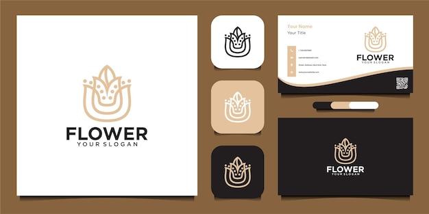 Modelo de design de logotipo de flor com arte de linha e cartão de visita