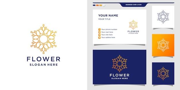 Modelo de design de logotipo de flor com conceito criativo e cartão de visita