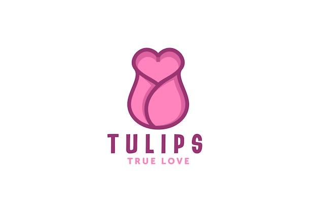 Modelo de design de logotipo de flor de amor de tulipas