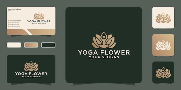 Modelo de design de logotipo de flor de ioga e cartão de visita