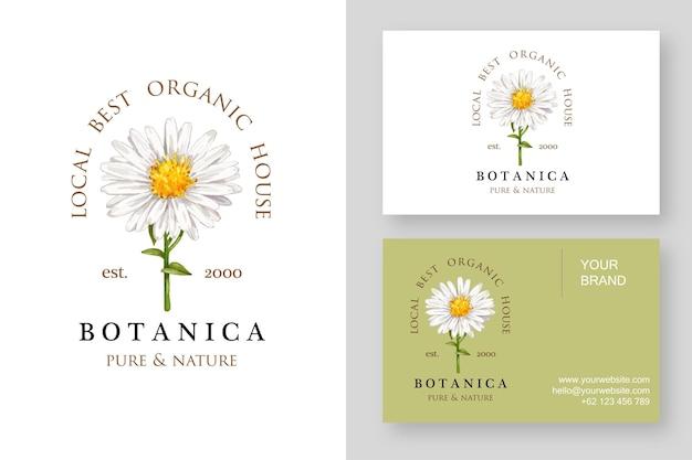Modelo de design de logotipo de flor de margarida e cartão de visita