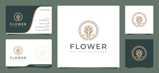 Modelo de design de logotipo de flor elegante e minimalista